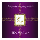Wedding Couples Shower Invitation Purple Gold Leaf