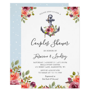 Wedding Couples Shower Nautical Anchor Floral Card