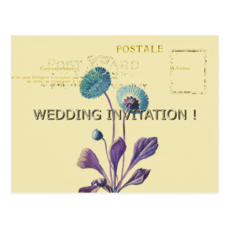 WEDDING-CREAM-VINTAGE-BLUE-FLORAL-TEMPLATE POSTCARD