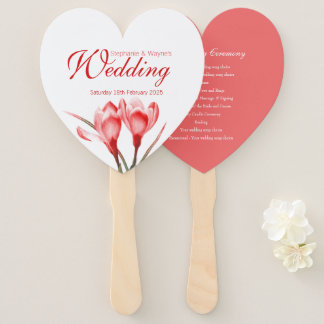 Wedding crocus red orange flower art program fans
