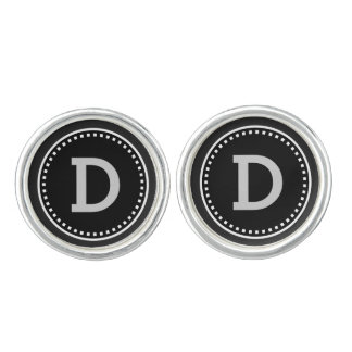 Wedding Cufflinks Monogram Black and White V7