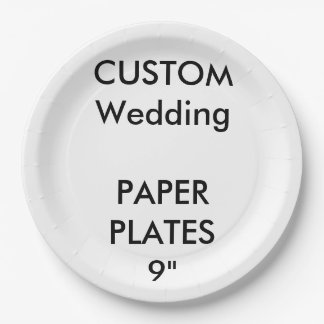 Wedding Custom Large Luncheon Paper Plates 9""