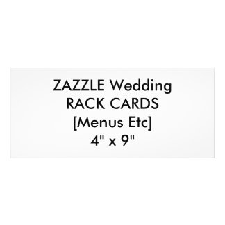 "Wedding Custom Menu & Program Cards 4"" x 9"" Rack Card Design"