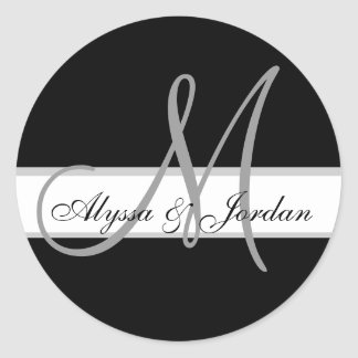 Wedding Custom Monogram & Names Black & Grey Seal Round Sticker