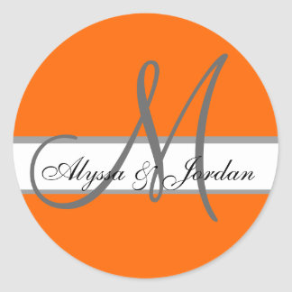 Wedding Custom Monogram & Names Orange & Grey Seal