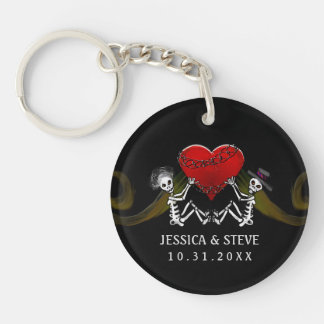Wedding Customized Keychain - Skeletons with Heart Key Chains