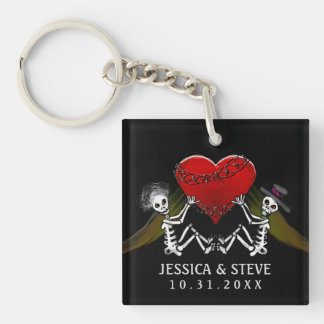 Wedding Customized Keychain - Skeletons with Heart