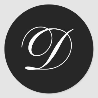 Wedding D Monogram Black Stickers