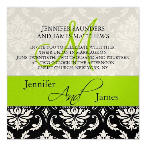 Wedding Damask Monogram Names Green Invitation