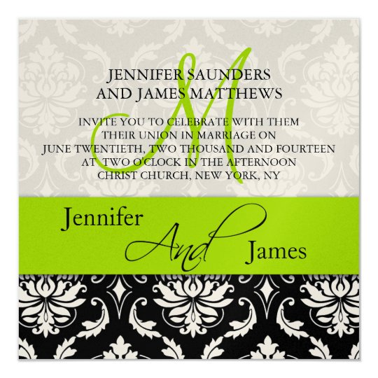 Wedding Damask Monogram Names Green Invitation