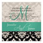 Wedding Damask Monogram Names Turquoise Invitation