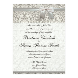 Wedding Damask Vintage White Wedding Old Lace 6.5x8.75 Paper Invitation Card