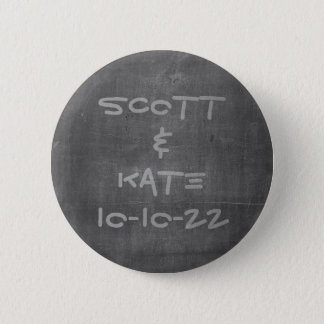 Wedding Date and Name Chalkboard 2 Inch Round Button