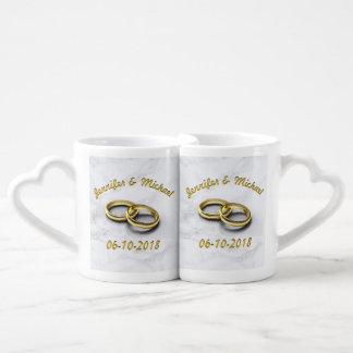 Wedding Date Bride & Groom Personalize Coffee Mug Set