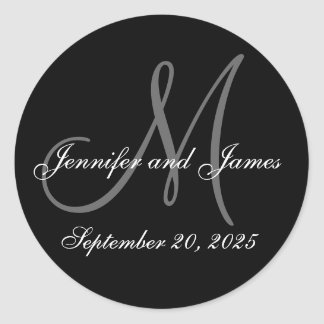 Wedding Date First Names Initial Monogram Sticker