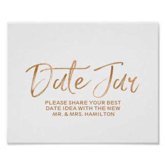 Wedding Date Jar 8x10 Stylish Rose Gold Sign