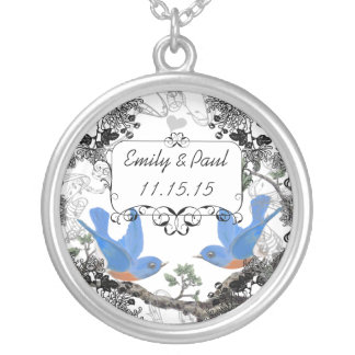 Wedding Date Lucky Bluebird Anniversary Necklace
