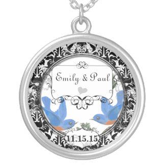 Wedding Date Lucky Bluebird Anniversary Necklace