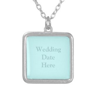 Wedding Date or Photo Here Square Pendant Necklace