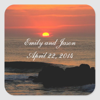 Wedding Date Sunrise Stickers