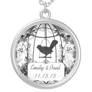 Wedding Date Vintage Birdcage Anniversary Necklace