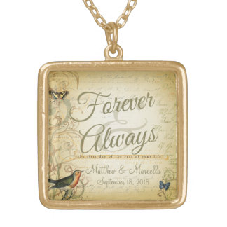 Wedding Day Forever & Always Personalized Gold Plated Necklace