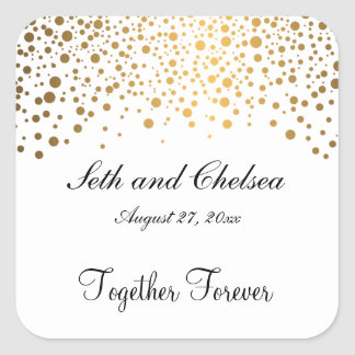 Wedding Day Gold Dots   Personalize Square Sticker