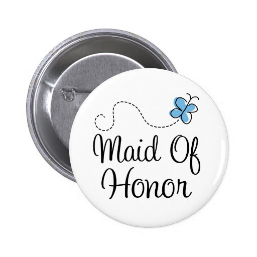 Wedding Day Maid of Honor Blue Button