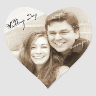 Wedding Day Photo Reminder Heart Sticker