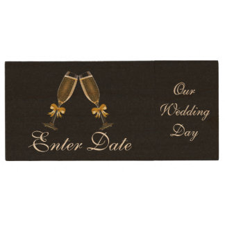 Wedding Day Pictures Real wood Flash Drive black Wood USB 2.0 Flash Drive