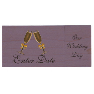 Wedding Day Pictures Real wood Flash Drive purple Wood USB 2.0 Flash Drive