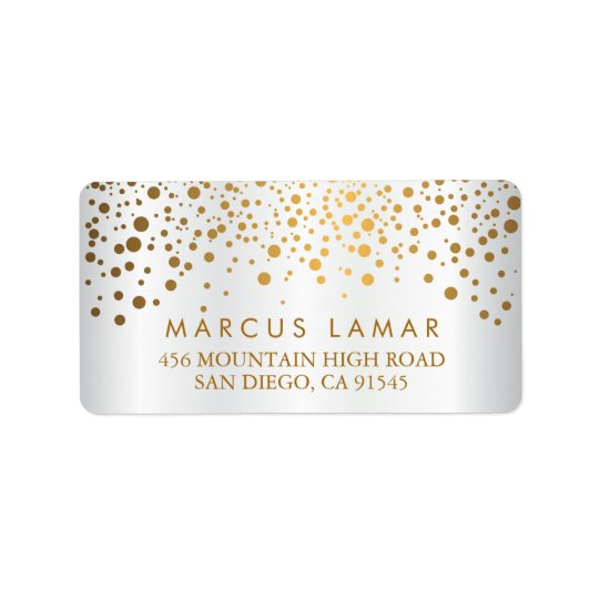 Wedding Day Trendy Gold Dots White Satin Label