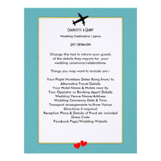 Wedding Destinations Abroad Guest Information Personalized Letterhead