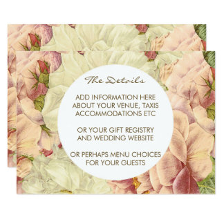 Wedding details and information card floral roses