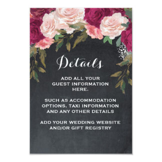 Wedding details and information card pink burgundy