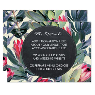 Wedding details and information card tropical palm