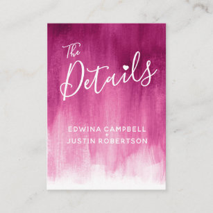 Wedding details dark pink red art enclosure card
