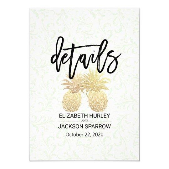 Wedding Details Information Modern Gold Pineapples Card