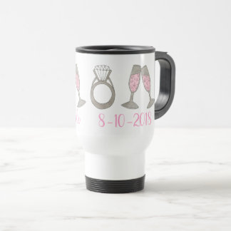 Wedding Diamond Ring Pink Champagne Team Bride Travel Mug