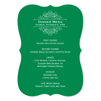 Wedding Dinner Menu Card | Emerald Green