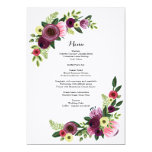 "Wedding Dinner Menu Card Floral Burgundy Blush 5"" X 7"" Invitation Card"