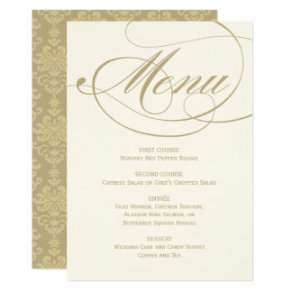 "Wedding Dinner Menu Card | Gold Calligraphy Design 5"" X 7"" Invitation Card"