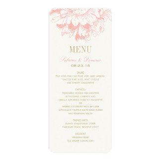 Wedding Dinner Menu Cards | Coral Floral Peony Custom Invitation
