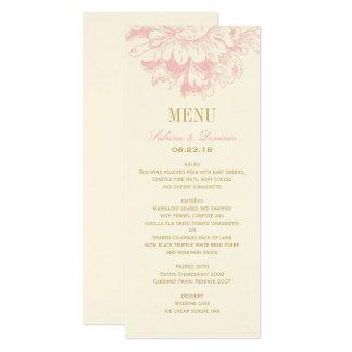 Wedding Dinner Menu Cards | Pink Floral Peony