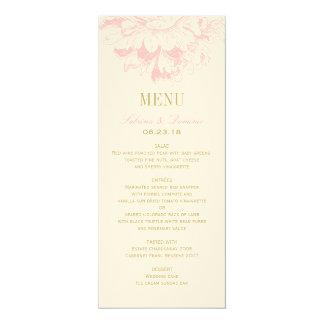 "Wedding Dinner Menu Cards | Pink Floral Peony 4"" X 9.25"" Invitation Card"