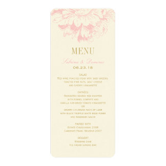 "Wedding Dinner Menu Cards   Pink Floral Peony 4"" X 9.25"" Invitation Card"