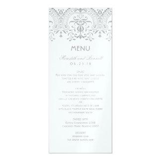 "Wedding Dinner Menu Cards | Silver Vintage Glam 4"" X 9.25"" Invitation Card"