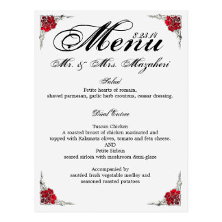 Wedding Dinner Menu With Thank you Note on back Postcard