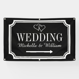 Wedding direction sign banner Personalized signage