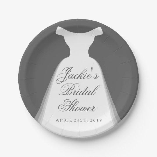 Wedding Dress Bridal Shower 7 Inch Paper Plate